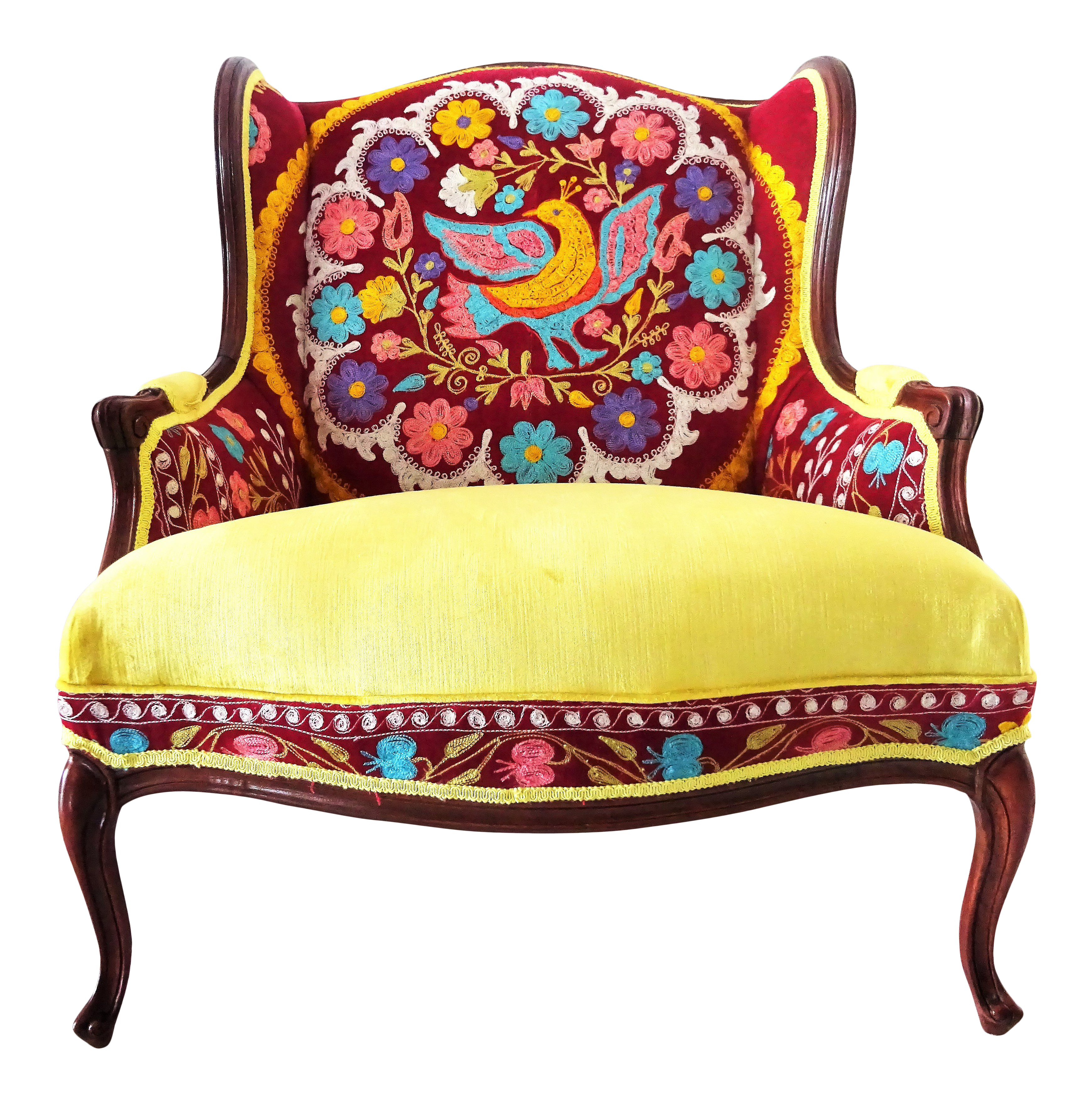Early 20th Century Suzani Embroidery U0026 Gold Velvet Bohemian Wooden Wingback  Armchair For Sale