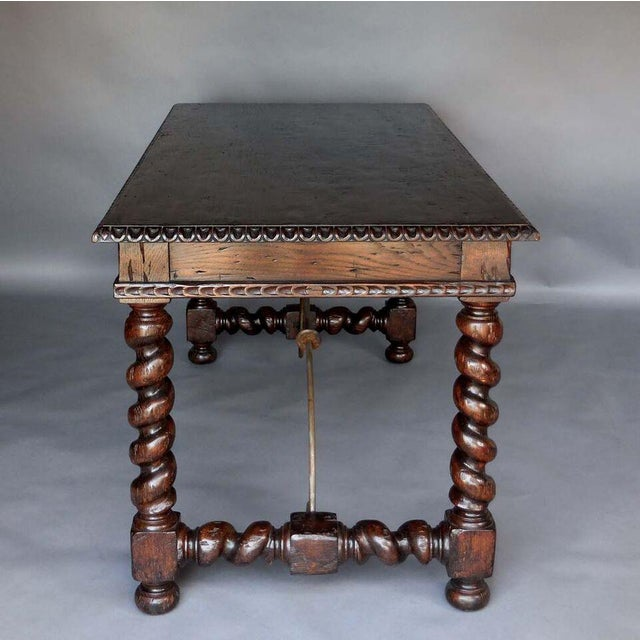 Custom Wood Writing Desk with Spiral Legs, Two Drawers and Iron Supports - Image 6 of 9