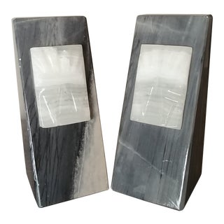 Gray Onyx Aztec Bookends - a Pair For Sale