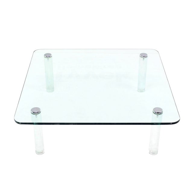 Transparent Mid-Century Modern Square Glass Top Coffee Table on Lucite Cylinder Legs For Sale - Image 8 of 8