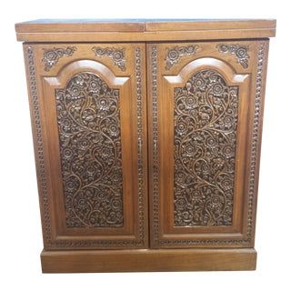 Vintage Expandable Hand Carved Teak Bar For Sale