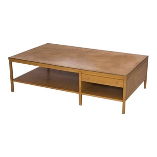Rare Paul McCobb Coffee Table with Leather Top for Calvin For Sale