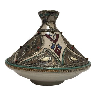 Moroccan Ceramic Tajine From Fez Polychrome For Sale