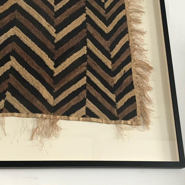 Antique African Zig Zag Pattern Kuba Cloth Tapestry For Sale - Image 4 of 6