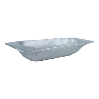 Curated Kravet Magnolia Dough Bowl, Silver For Sale