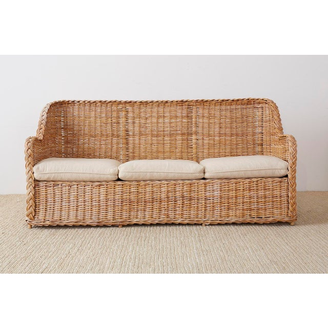 McGuire Pair of Organic Modern McGuire Style Rattan Wicker Sofas For Sale - Image 4 of 13