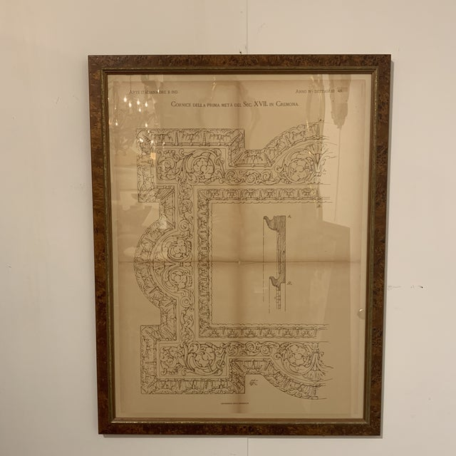 Original Architectural print from the 1800s. In a burled wood frame. Walnut game.