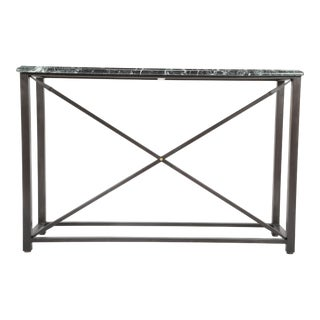 Pair of Modern Steel Console Table with Green Marble Tops For Sale