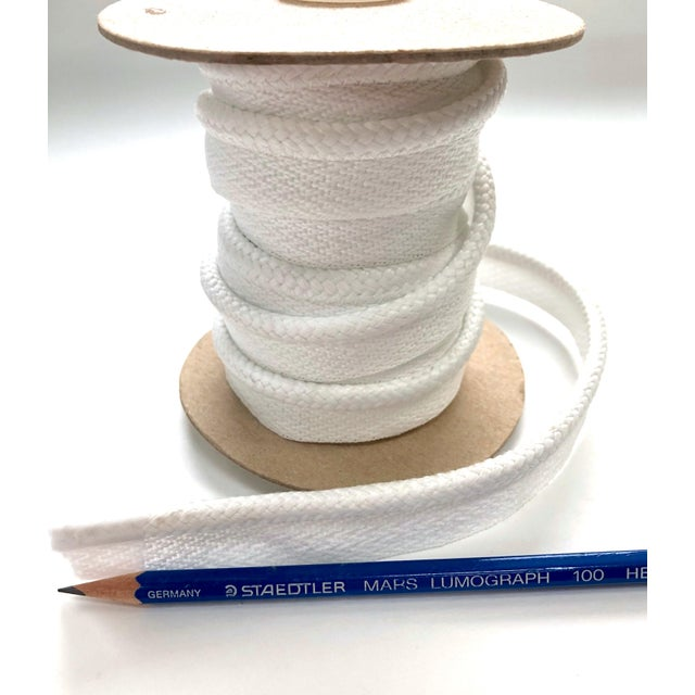 "Contemporary Braided 1/4"" Indoor/Outdoor Cord in White For Sale - Image 3 of 6"
