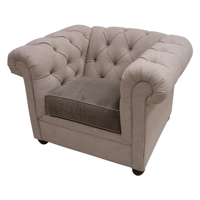 Chesterfield Style Tufted Linen Arm Accent Chair - Image 1 of 4