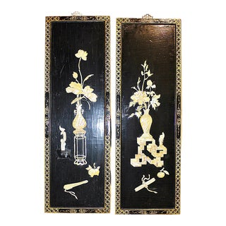 Asian Decorative Panels - a Pair For Sale