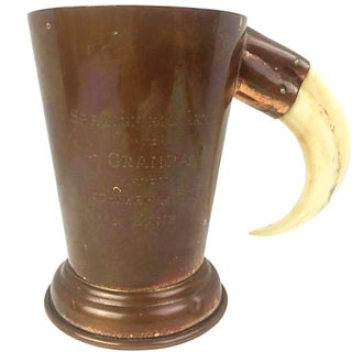 English Copper Engraved Cup with Tusk Handle For Sale