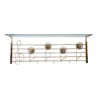 Rare Italian Brass and Glass Music Note Design Coat/Hat Rack For Sale