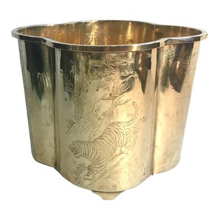 Vintage Mid Century Asian Inspired Etched Brass Planter For Sale
