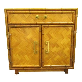 Split Bamboo & Woven Accent Table Cabinet