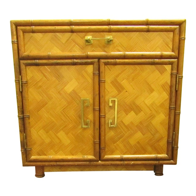Split Bamboo & Woven Accent Table Cabinet For Sale