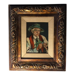 Vintage Portrait Oil Painting on Board Signed by Artist For Sale
