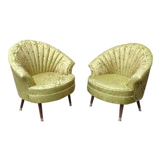 Hollywood Regency Gold Embroidered Satin Fan Back Lounge Chairs - A Pair