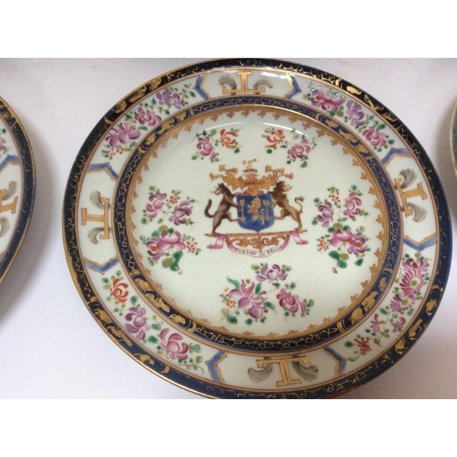 Samson & Cie French Chinese Export Style Armorial Plates - Set of 6 For Sale - Image 4 of 9