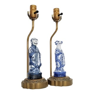 Pair of Vintage Chinese Zodiac Porcelain Figurine Lamps - Asian Chinoiserie Palm Beach Boho Chic Mid Century Bedside For Sale