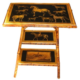 Boho Chic 3-Tier Bamboo Table With Decoupaged Horses For Sale