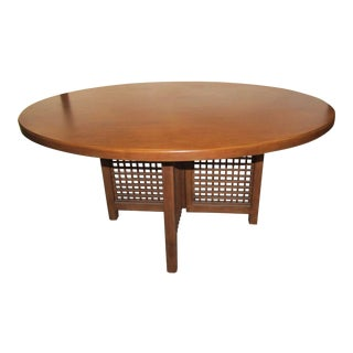 Mid Century Modern Round Wood Nautica Dining Table For Sale