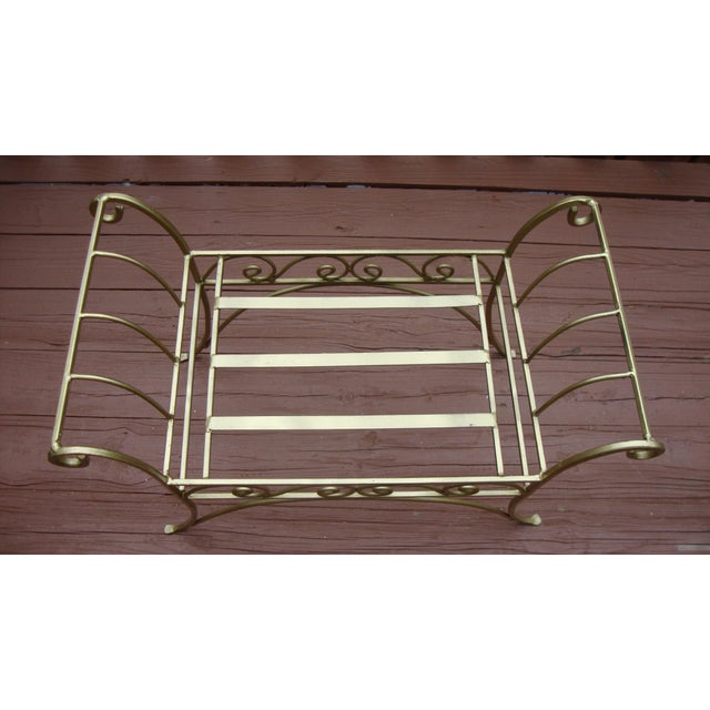 Metal French Art Deco Scroll Bench in Gold Tone - Image 4 of 11