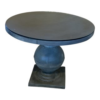 Solid Zinc Round Table With Glass Top For Sale