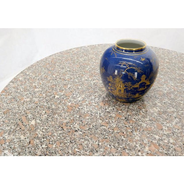 1970s Round Granite Stone X Base Dining Dinette Center Table For Sale - Image 5 of 9