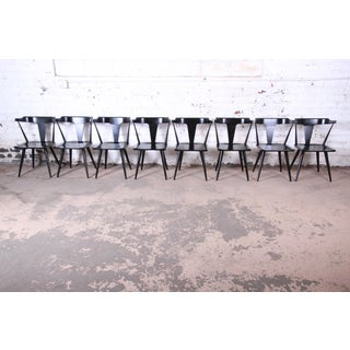 Paul McCobb Planner Group T-Back Black Lacquered Solid Maple Dining Chairs, Set of Eight Preview