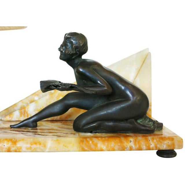 Art Deco Styled Italian Marble Desk Lamp with Bronze Nude For Sale - Image 9 of 9