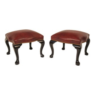 Black Lacquer & Burgundy Leather Benches - A Pair For Sale