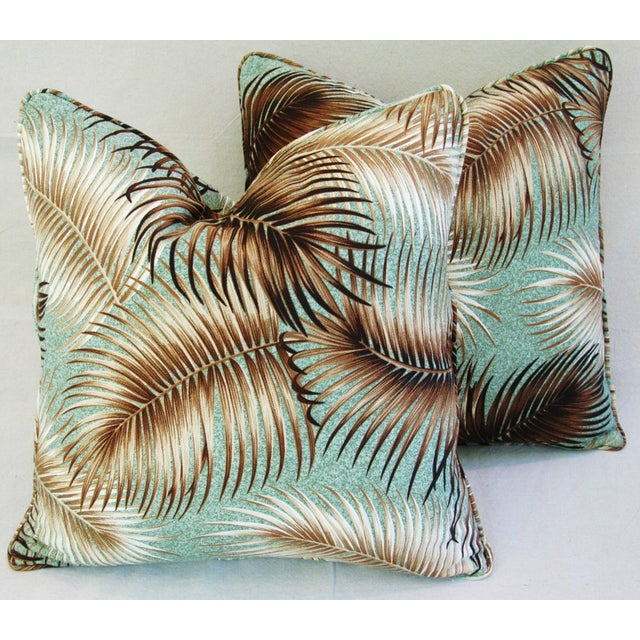 Mid-Century Palm Leaves Barkcloth Pillows - Pair - Image 2 of 9