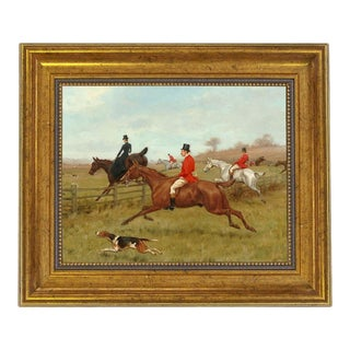 The Chase Equestrian Fox Hunt Scene Oil Painting Print on Canvas in Antiqued Gold Frame For Sale