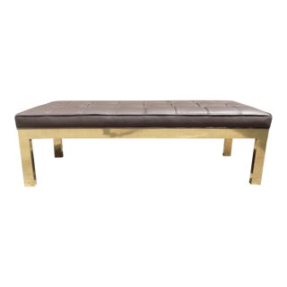 1970s Mid-Century Modern Mastercraft Leather Long Bench For Sale