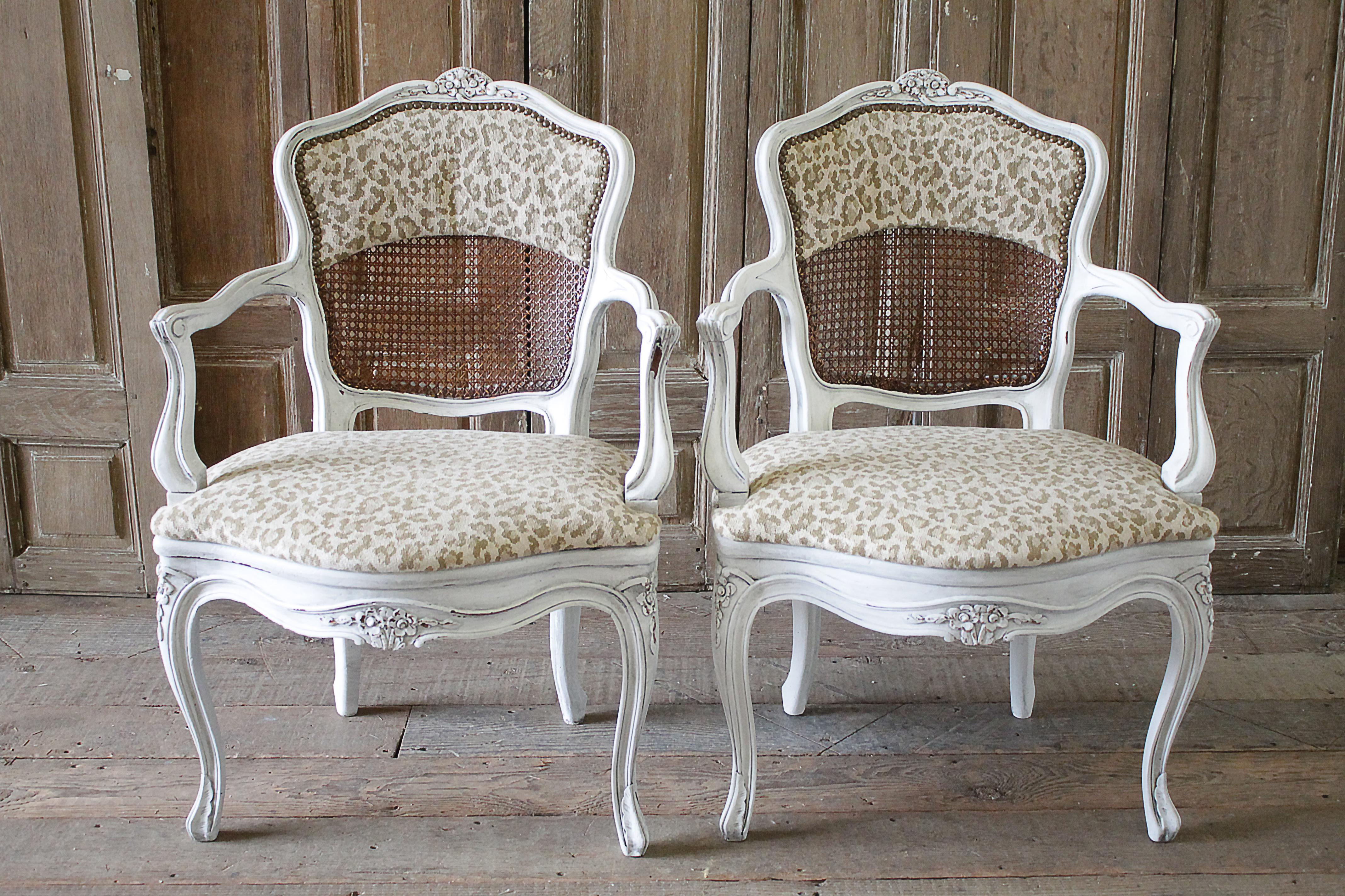Antique Country French Cane Chairs With Leopard Upholstery   A Pair   Image  9 Of 9