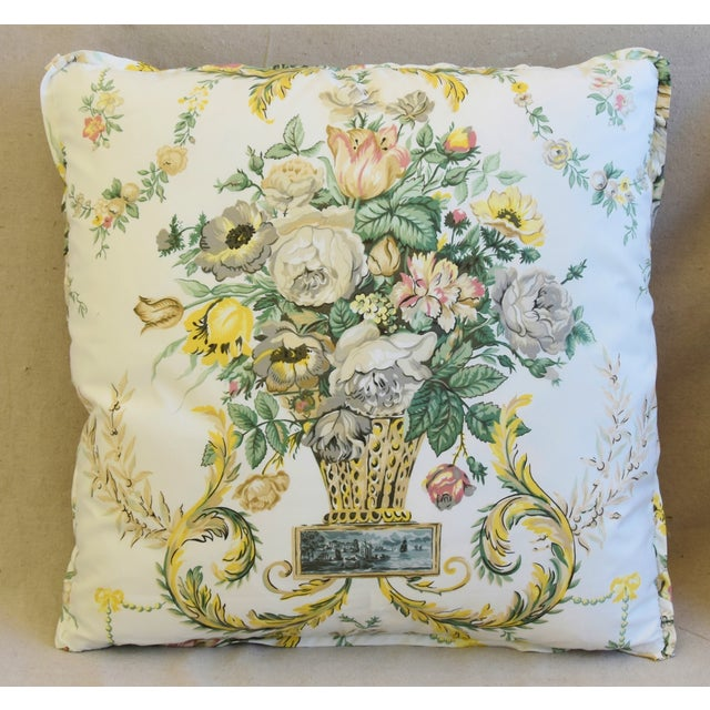 "Abstract Schumacher Floral Airlie Bouquet & Chenille Feather/Down Pillows 21"" Square - Pair For Sale - Image 3 of 13"