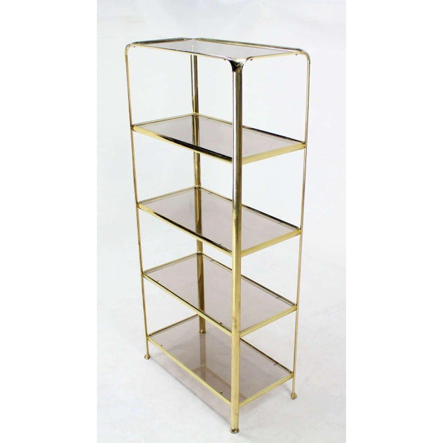 Mid Century Modern Five Tier Brass and Smoked Glass Etagere Shelving Unit - Image 2 of 10