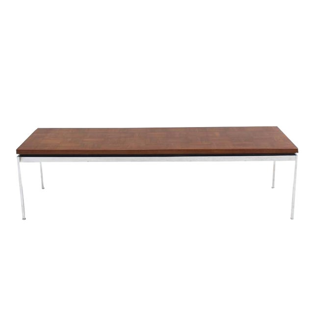 Solid Stainless Steel With Parquet Top Rectangular Coffee Table For Sale