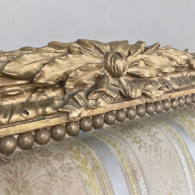 19th Century French Louis XVI Giltwood Sofa For Sale - Image 9 of 12