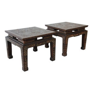John Widdicomb Asian Faux Tortoise Shell End Tables - a Pair