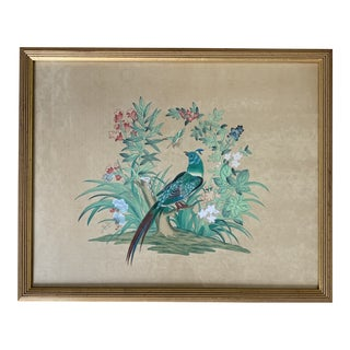 Chelsea House Framed Watercolor Asian Exotic Bird Painting on Silk For Sale