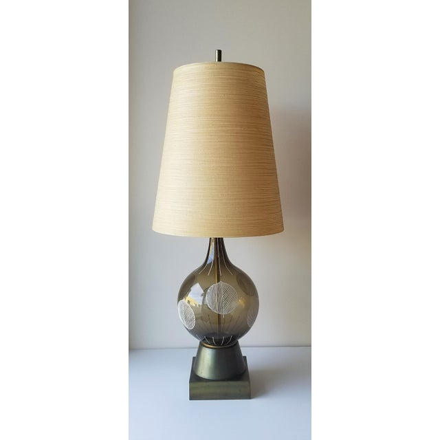 1960s Lotte and Gunnar Bostlund Hand Painted Glass Table Lamp For Sale - Image 11 of 11
