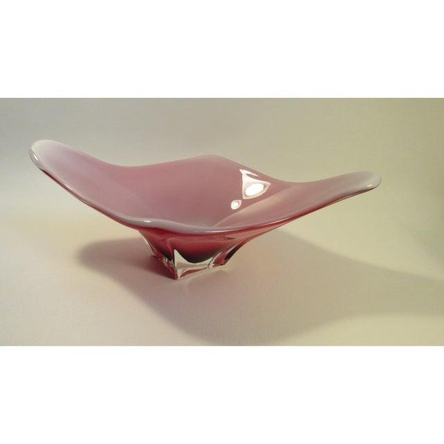 Mid-Century Murano Red & White Centerpiece Bowl - Image 2 of 6