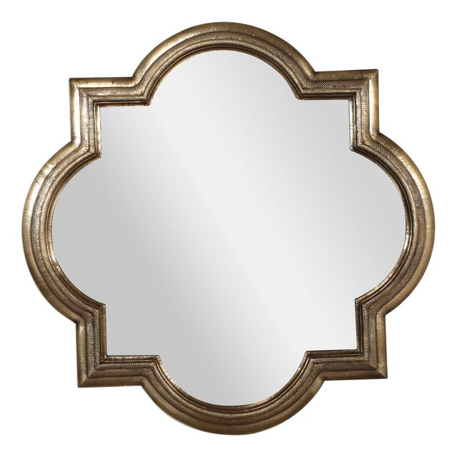 Anglo-Indian Large Brass Quatrefoil Mirror For Sale - Image 3 of 3
