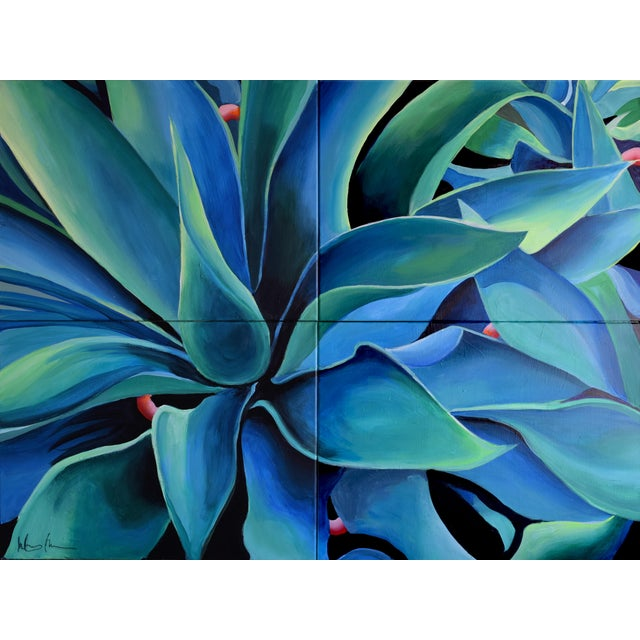 'Silver Blue Agave' Acrylic Painting - Image 2 of 9