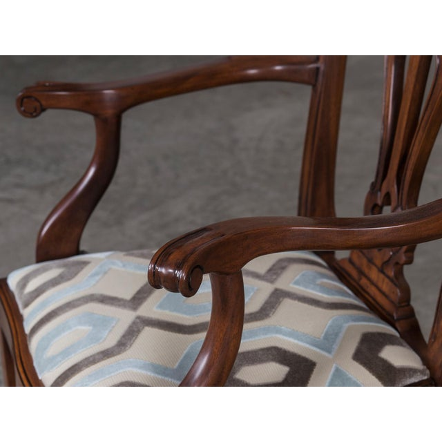 Set Eight George III Chippendale Style Mahogany Dining Chairs, Custom Stain Finish, England - Image 7 of 9