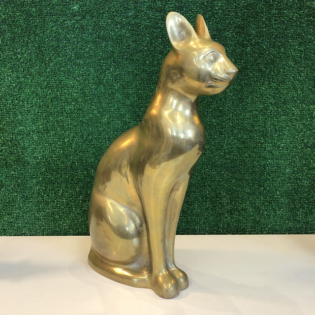 Large Brass Cat Figure For Sale - Image 4 of 8