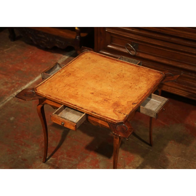 19th Century French Four-Drawer and Glass Holder Game Table With Leather Top For Sale - Image 4 of 10