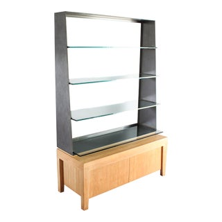 Industrial Vida Bookcase Display With Cabinet Storage For Sale